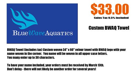 Blue Wave Aquatics custom towels